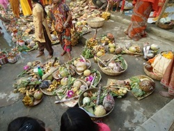 Offering arranged during the Chhath Puja.