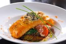 Fish, salmon, fried, a garnish
