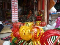 Another cosmetic shop in Patan displaying colorful bangles to attract the customers.